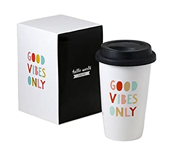 good vibes only thermal ceramic coffee mug with lid and gift box 11 ounces