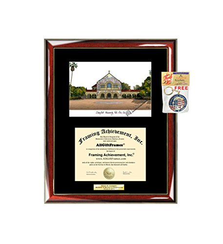 (Stanford University Diploma Frame Lithograph Graduation Degree Framing Gift College Graduate Plaque Black Matted University Diploma Frames)