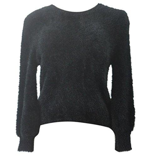 QIYUN.Z Atractiva De Las Mujeres Del Suéter De Manga Larga Jerseys De Punto Suéter De Cuello Redondo De La Felpa negro