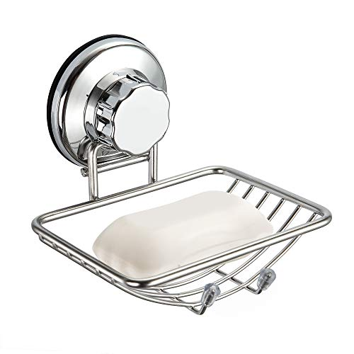 SANNO Soap Dish Holder, Suction Soap Saver Dispensers, Vacuum Suction Cup Bar Soap Sponge Holder for Shower, Bathroom, Tub and Kitchen Sink - rust proof stainless steel by SANNO