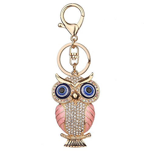(Diamondo Owl Shape Keychains Women Fashion Rhinestone Bag Pendant Car Key Accessories (B))