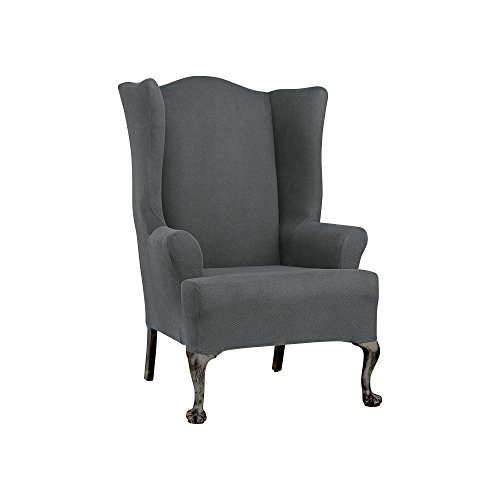 Sure Fit Simple Stretch Twill  - Wing Chair Slipcover  - Carbon Gray (SF44471) (Stretch Twill Slip)