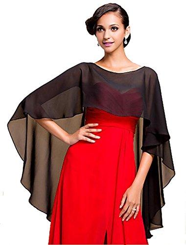 Formal Dress Shawls - Wedding Capes Womens Soft Chiffon Shrug Bridal Long Shawl and Wraps, Black One SIze