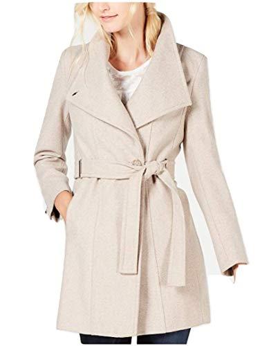 (Calvin Klein Women's Petite Belted Walker Coat Oatmeal Twill Size PL )
