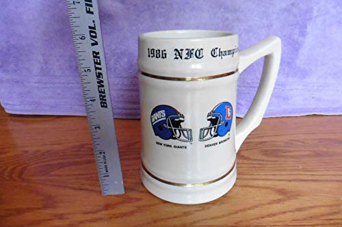- Vintage 1986 NFC Champion Mug Cup Beer Stein Giants vs Broncos Super Bowl XXI