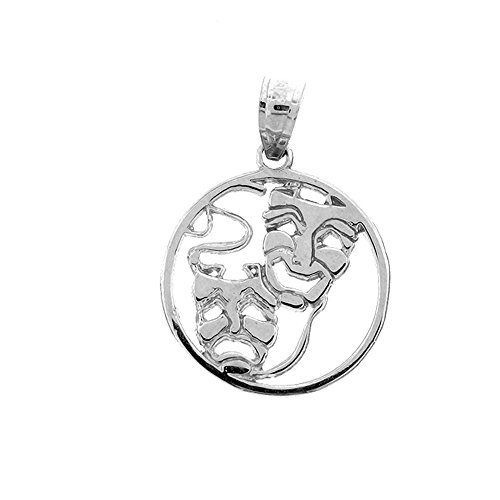 Jewels Obsession Drama Mask   14K White Gold Drama Mask, Laugh Now, Cry Later Pendant - 20 mm