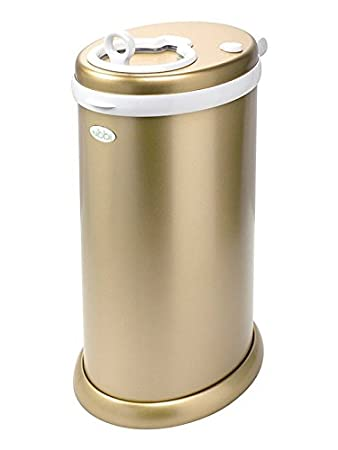 Ubbi Limited Edition, Money Saving, No Special Bag Required, Steel Odor Locking Diaper Pail, Chrome Pearhead 10027