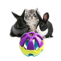Colorful Plastic Pet Toy Ball with Bell, Dog Cat Rabbit Bauble, 2.93\