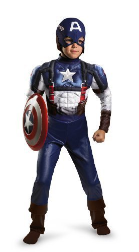 [Captain America Movie Classic Muscle Costume - Large (10-12)(Discontinued by manufacturer)] (Kids Captain America Costumes)