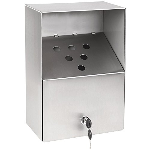 Cam Lock Stainless Steel Urn (Table Top King AT-002 Large Stainless Steel Outdoor Wall-Mount Urn with Keyed Cam Lock)