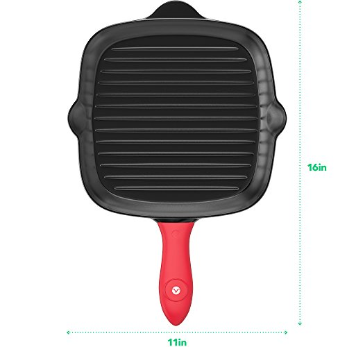 Vremi Pre-Seasoned Cast Iron Square Grill Pan - 11 inch Nonstick Stove Top Grilling Pan for Oven and Vegetables - Silicone Handle Cover - Heavy Duty Cast Iron Grill Pans for Electric or Gas Stove Tops by Vremi (Image #4)