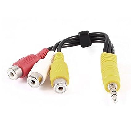 eDealMax conector DE 3,5 mm a 3 adaptador estéreo RCA hembra Cable de Audio