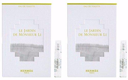 2 x HERMES LE JARDIN DE MONSIEUR LI EDT .06 OZ 2 ML SAMPLE MINI VIAL LOT In Card