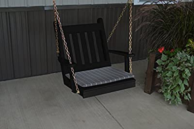 2 Ft Yellow Pine Outdoor Traditional English Chair Swing Amish Made USA- Black Paint