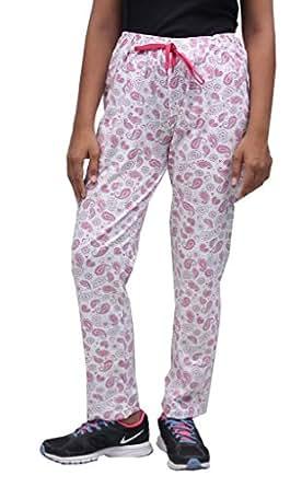Romano Women Multi-Coloured Cotton Track Pant (romwomfloriwhitpinkprnttrack_m, Medium, Multi-Coloured)