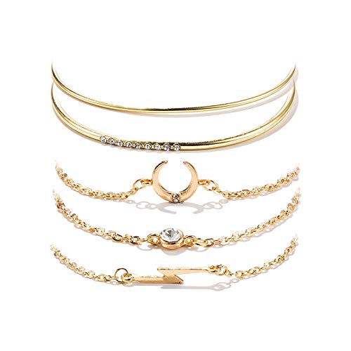 Shining Diva Fashion Set of 5 Multilayer Crystal Bangle Charm Bracelet for Women (Golden) (10713b) (B07TYFMZFH) Amazon Price History, Amazon Price Tracker