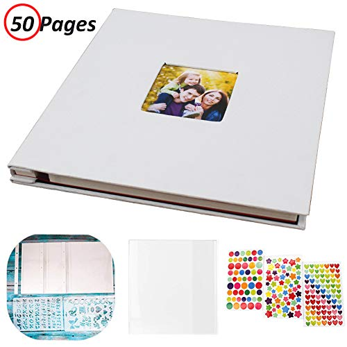 50 Self Adhesive - Photo Album Self Adhesive, Linen Hardcover 50 Sticky Pages Scrapbook Album, Memory Book for Wedding/Family, Dust-Free/Glue-Free Photo Album Holds and Protect 3X5, 4X6, 5X7, 6X8, 8X10, Photos (White)