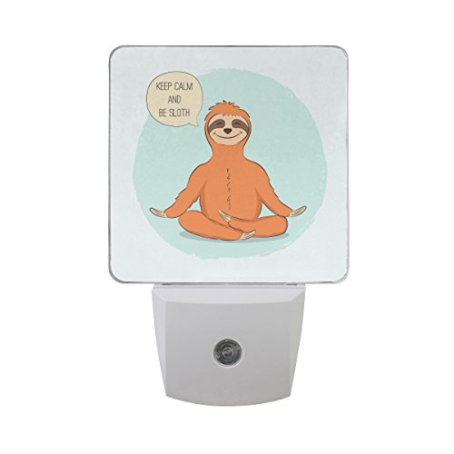 Naanle Set Of 2 Cute Hand Painted Sloth In Yoga Pose Lotus Meditation Blue Circle On White Auto Sensor LED Dusk To Dawn Night Light Plug In Indoor for Adults by Naanle