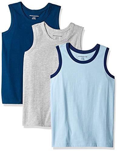 Amazon Essentials   Boys' 3-Pack Tank Top, Blue/Sea/Grey XXL (14) (Blu Cotton Tank Top)