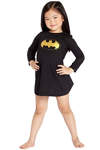 Batgirl DC Comics 'Batman Logo Star' Halloween Costume Pajama Nightgown Sleepshirt, Black, 2T