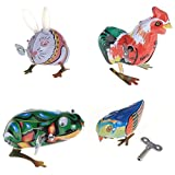 SODIAL Toy Mechanical Old Metal Rabbit Chick Frog Bird Collection Gifts for Children