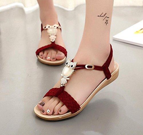 Yiiquan Mujer Sandalias Bohemia Con Cuentas Zapatillas T-Strap Sandalias De Playa Estilo3 Rojo
