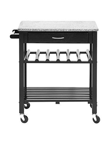 Baxton Studio Quebec Black Wheeled Modern Kitchen Cart with Granite Top