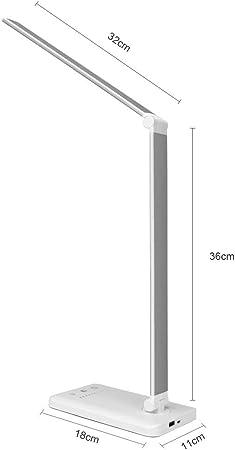 Escritorio de la lámpara LED, Eye-El Cuidado lámparas de Mesa, lámpara Regulable Oficina con Puerto de Carga USB, 5 Modos de iluminación con 10 Niveles de Brillo, Control táctil (Color : Silver):