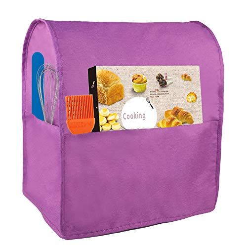 Dust Cover Compatible with 6-8 Quart KitchenAid Mixers, Waterproof Cloth Cover with 3 Pockets for Extra Accessories (Purple)