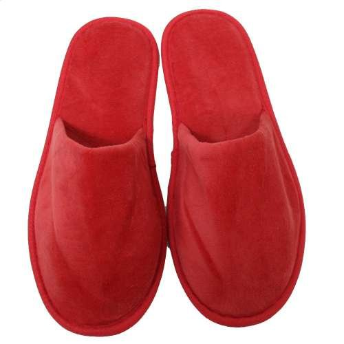 Terry Velour Closed Toe Slippers Cloth Spa Hotel Unisex Slippers for Women and Men Red by TowelRobes (Image #2)