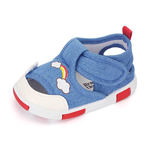 Baby Shoes Boys Girls First Walkers Sandals Cute Animals Toddler Sneakers Prewalkers Rubber Sole Navy Rainbow