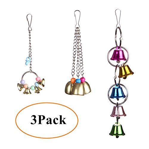 (DETOP Bird Bite Bell Toys Parrots' Cage & Stand Stainless Steel Hanging Craft Toy for Budgies Counres Lovebirds Finches - 3 Pack)