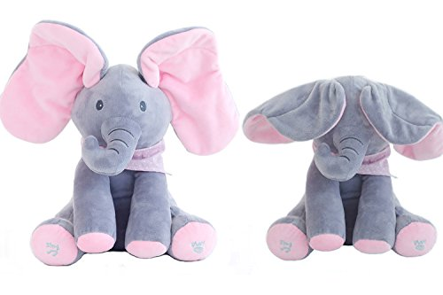 (OMGOD Plush Toy peek-a-Boo Elephant, Hide-and-Seek Game Baby Animated Plush Elephant Doll Present - Pink)