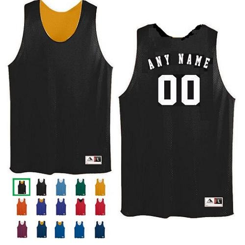 5a6ed296ddac Black Gold Adult 2XL Customized (Any Name and or Number) Basketball  Reversible Tricot Mesh Polyester Tank Jersey Shirts
