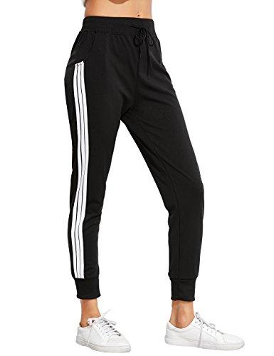 SweatyRocks Pants Women Drawstring Waist Striped Side Jogger Sweatpants with Pockets, Black, Large