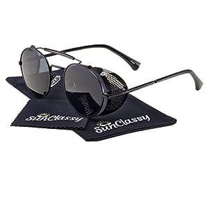 Metal Frame Side Shield Oval 52mm Hipster Round Sunglasses Vintage Retro Steampunk Gothic (Black, Black)