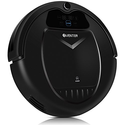 Robotic Vacuum Cleaner Robins Robot, Auto-Charged Scheduling, Anti-dropping, Daily Scheduling Sweeper with Powerful Suction, HEPA Filter, Extra Brush for Hard Floor and Carpet House Cleaning. (Black) by Eventer Robins