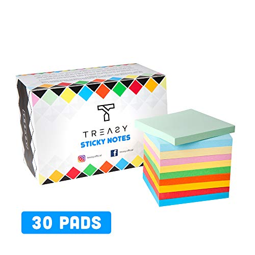 Sticky Notes Bright Colors Memo Pad - 3 in x 3 in, 30 Pads/Pack, 70 Sheets per pad, (All The Colours) – by TREASY