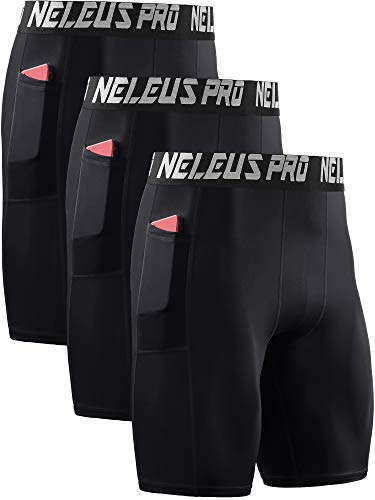 Neleus Men's 3 Pack Compression Shorts with Pockets,6063,Black/Black/Black,US XL,EU 2XL