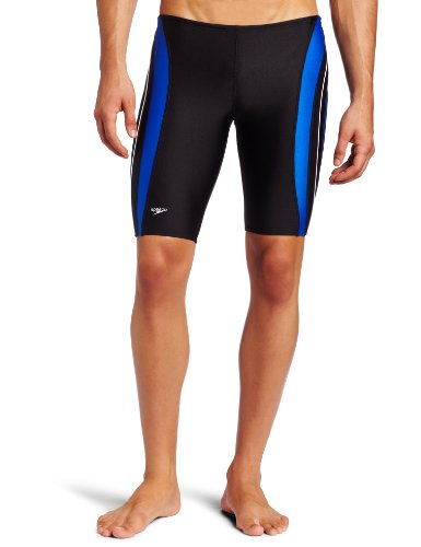 Speedo Men's Xtra Life Lycra Rapid Splice Jammer Swimsuit, Black/Blue, 30