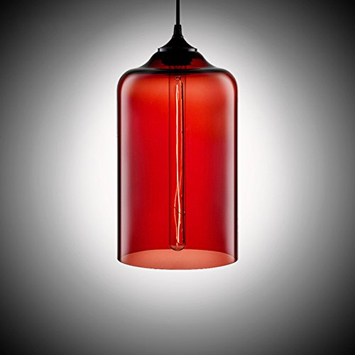 MKLOT Ecopower Edison Minimal 1 Light Pendant Shade Vintage with Red Glass Shade Straight Glass Shape Hand Blown Art Glass