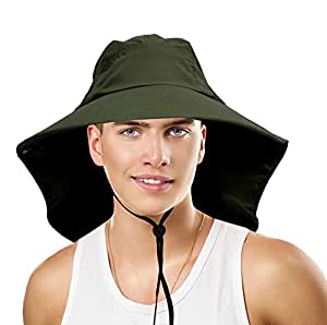 Sun Blocker Outdoor Sun Protection Fishing Cap with Neck Flap, Wide Brim Sun Hat for Travel Camping Hiking Hunting Boating Safari Cap with Adjustable Drawstring, Forest Green