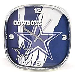 Dallas Cowboys, Large Square Chrome Clock Rounded Corners. Ideal Family Room, Man cave Office Decor.