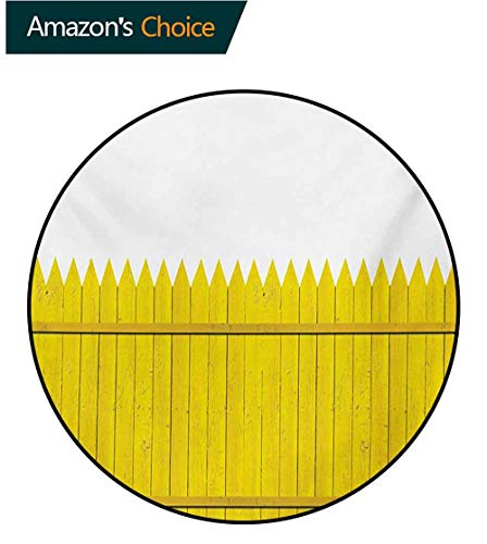 (RUGSMAT Yellow Modern Machine Washable Round Bath Mat,Colorful Wooden Picket Fence Design Suburban Community Rural Parts of Country Non-Slip Soft Floor Mat Home Decor,Round-63 Inch)