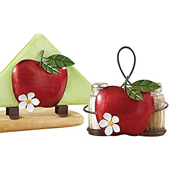 Apple Blossom Salt And Pepper Set with Vine That Forms a Handle - Hand-Painted Kitchen Decoration
