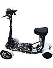 Folding 4-Wheel Mobility Scooters, 250W Lightweight Electric Mobility Scooter for Elderly/Disabled/Adults, Portable Travel Scooter, 3 Speed Shift Switch,White,15.6Ah