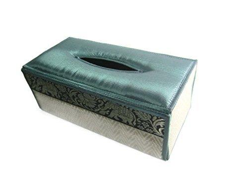 Handmade Thai Woven Straw Reed Rectangular Tissue Box Cover with Silk Elephant Design Decorative