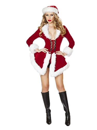 Leright Women's Christmas Lingerie Sexy Santa Outfit Dress Velet Corset Costume, Red, One size fit for (Mrs Christmas Outfit)