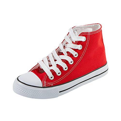 Womens High Top - Magone Womens High Top Classic Canvas Fashion Sneaker red 8.5