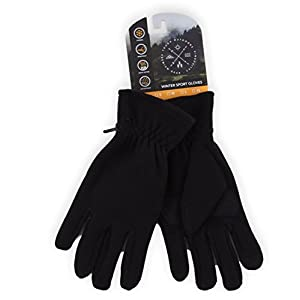 Winter Fleece Gloves – Touchscreen, Thermal Black Soft Fleece Gloves for Cold Weather Warmth – Fits Men and Women